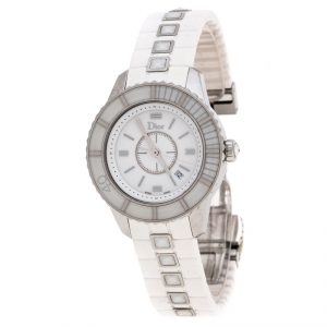 ساعة يد نسائية ديور شاريستال CD113111 ستانلس ستيل و مطاط بيضاء 33 مم