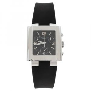 Dior Black Stainless Steel Rubber Riva D81-100 Women's Wristwatch 31 mm