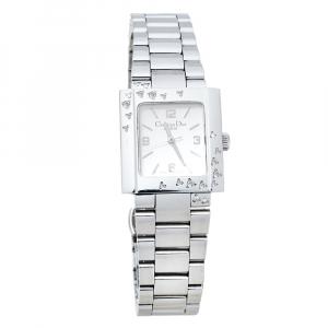 Dior Silver Stainless Steel Diamond Riva D98-1014 Women's Wristwatch 25 MM