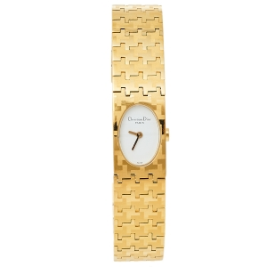 Dior White Gold Plated Stainless Steel Miss Dior D70-150 Women's Wristwatch 15 mm