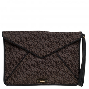 Dkny Brown/Black Canvas and Leather Wristlet Clutch