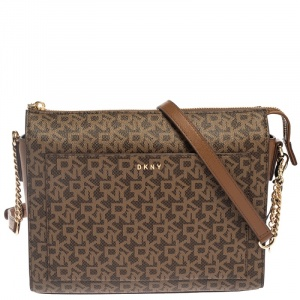 Dkny Brown Coated Canvas and  Leather Bryant Crossbody Bag