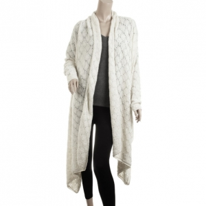 DKNY Pure Cream Crochet Wrap Cardigan