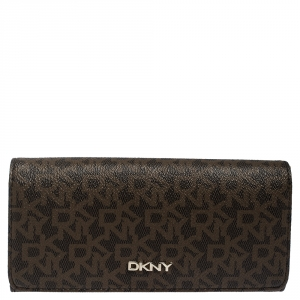 Dkny Brown Coated Canvas Continental Wallet