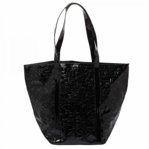 Dkny Black Embossed Logo Patent Leather Shopper Tote