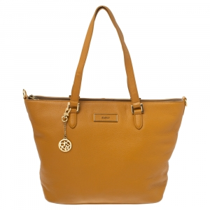 Dkny Mustard Leather Zip Tote