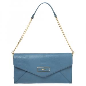 Dkny Blue Croc Embossed Leather Chain Shoulder Bag