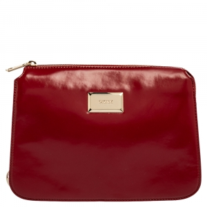 Dkny Red Patent Leather Top Zipped Shoulder Bag