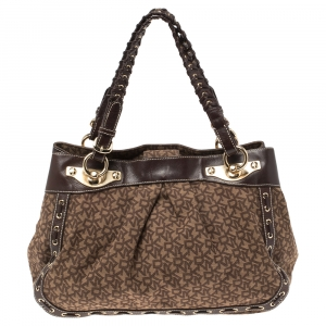 Dkny Brown Signature Canvas and Leather Whipstitch Tote