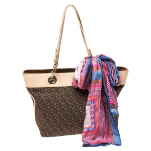 Dkny Beige Signature Canvas and Leather Tote