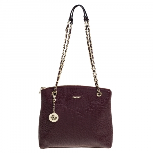 Dkny Maroon Leather Chain Shoulder Bag