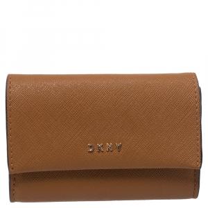 Dkny Tan Leather Flap Card Holder