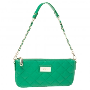 Dkny Green Quilted Leather Crossbody Bag