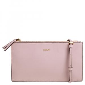 DKNY Powder Pink Leather Triple Zip Bryant Park Crossbody Bag