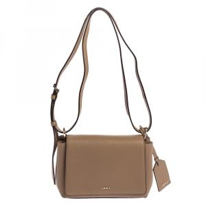 Dkny Beige Leather Logo Flap Crossbody Bag