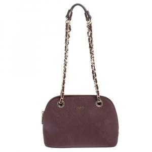 Dkny Burgundy Leather Dome Chain Shoulder Bag