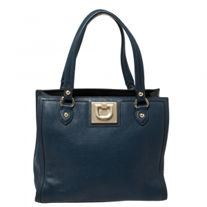 DKNY Navy Blue Leather Middle Zip Tote