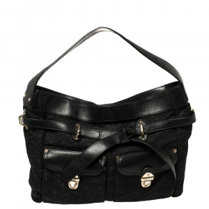 DKNY Signature Canvas and Leather Knotted Shoulder Bag