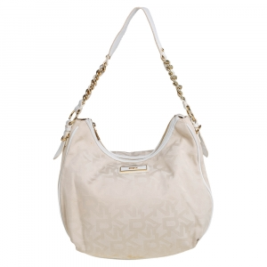 DKNY Cream Signature Canvas Hobo