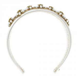 Dolce and Gabbana Daisy Flower Embellished White Satin Headband