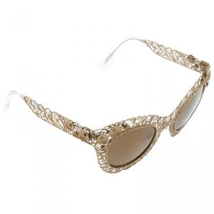 Dolce and Gabbana Gold DG2134 Filigree Cat Eye Sunglasses