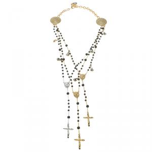 Dolce and Gabbana Beaded Rosary Cross Multi Layer Necklace