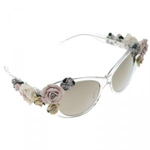 Dolce and Gabbana Brown DG 4180 Floral Embellished Cat Eye Sunglasses