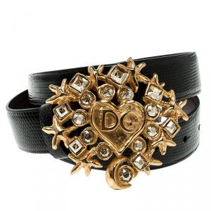 Dolce and Gabbana Black Lizard Crystal Embellished DG Heart Buckle Belt 70cm