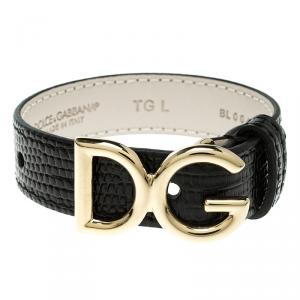 Dolce and Gabbana Black Iguana Leather Gold Tone Logo Bracelet L