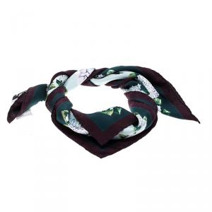 Dolce and Gabbana Multicolor Hydrangea Print Silk Square Scarf