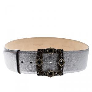 Dolce and Gabbana Silver Leather Crystal Embellished Buckle Belt 95cm
