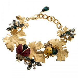 Dolce and Gabbana Ladybug Leaf Enamel Crystal Embellished Gold Tone Bracelet