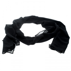 Dolce and Gabbana Black Silk Georgette Scarf