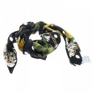 Dolce and Gabbana Black Silk Floral Printed Dotted Square Scarf