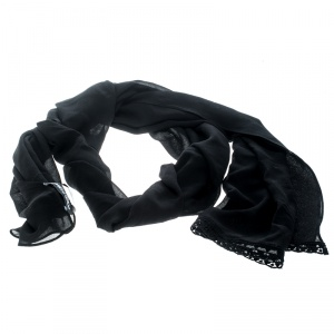 Dolce and Gabbana Black Silk Georgette Lace Edged Scarf