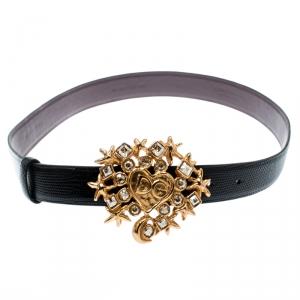 Dolce and Gabbana Black Lizard Embossed Leather Crystal Embellished DG Heart Buckle Belt 95CM