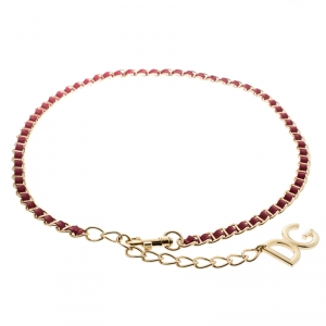 Dolce and Gabbana Red Interlaced Leather Gold Tone Chain Belt
