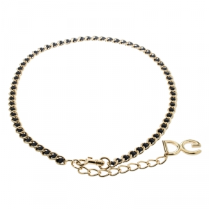 Dolce and Gabbana Black Interlaced Leather Gold Tone Chain Belt