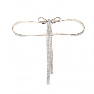 Dolce and Gabbana Beige Crystal Embellished Satin Bow Belt 75CM