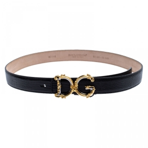 Dolce and Gabbana Black Lizard Embossed Leather Decorative Logo Belt 80CM