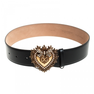 Dolce and Gabbana Black Leather Devotion Belt 75CM