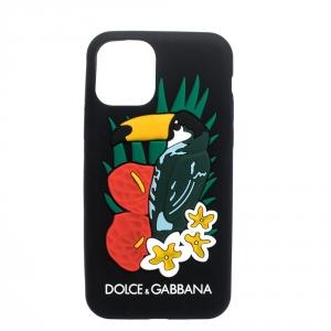 Dolce & Gabbana Black Toucan Print Rubber iPhone 11 Pro Case