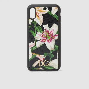 Dolce & Gabbana Black Lilium-Print Leather iPhone XS Max Cover