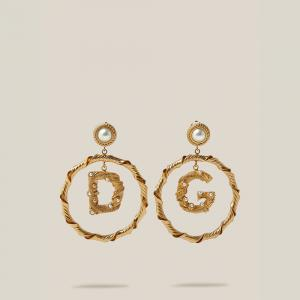 Dolce & Gabbana Gold Faux Pearls Gold-Tone Logo Charm Earrings