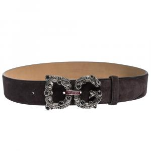 Dolce & Gabbana Dark Brown Suede Leather DG Amore Logo Belt 90CM