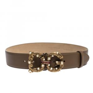 Dolce & Gabbana Brown Leather DG Amore Logo Belt 80CM