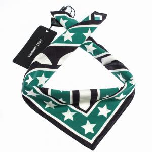Dolce & Gabbana Black/Green Print DG Queen Cotton Scarf