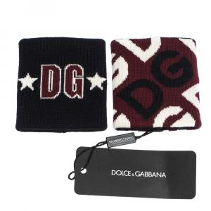 Dolce & Gabbana Multicolor Stretchy Wool DG Mania Wristbands