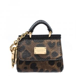 Dolce & Gabbana Brown Leopard Print Leather Miss Sicily Keyring