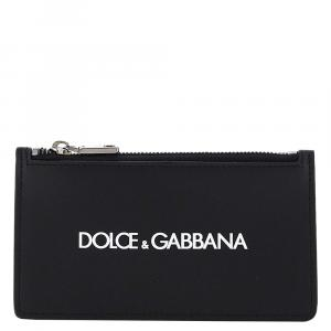 Dolce & Gabbana Black Leather Logo Card Holder Pouch